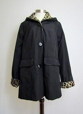 NWOT Jones NY Waterproof Reversible Coat Parka Hooded Fur Lined Black L