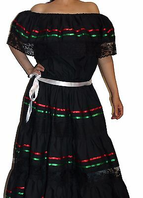 TRICOLOR PEASANT MEXICAN LACE DRESS OFF SHOULDER CINCO - Cinco De Mayo Kleider