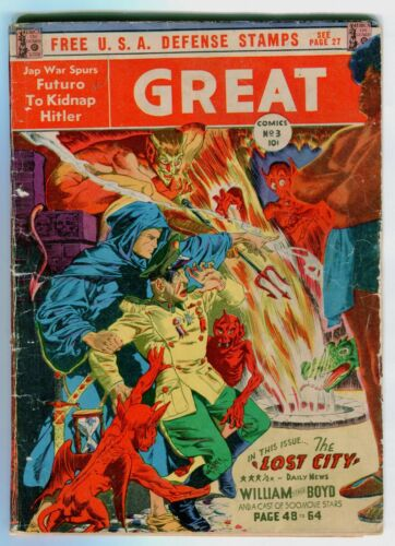 GREAT COMICS #3  Qualified 2.5 .  Two centerfolds missing. Classic Hitler cover