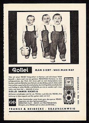 3w1662/ Alte Reklame von 1960 - ROLLEI - Franke & Heidecke - Braunschweig