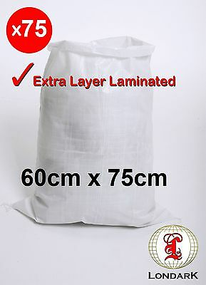 75 x Polypropylene LAMINATED PP Woven Rubble Sack (60cm x 75cm) heavy duty bags