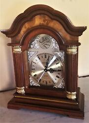 Vintage Tempus Fugit Quartz Dual Chime Mantel Clock Burl Crown New Movement