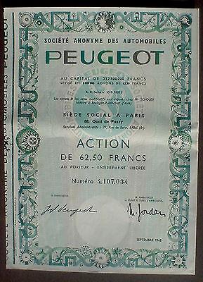 Peugeot 62,50 Francs Paris 1963