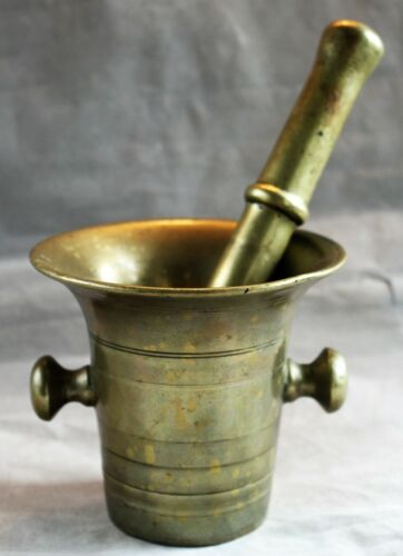 Heavy Antique Brass Mortar and Pestle c. 1800