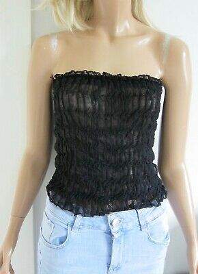 Vintage GIANNI VERSACE Black Ruched Ruffle Sheer Strapless Top/ Skirt Italy