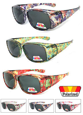 Womens Floral Print Rhinestones Fit Over POLARIZED Sunglasses Cover Rx (Floral Print Sunglasses)
