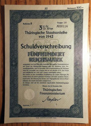 NAZI GERMANY - THURINGIA, 1942 - 500 RM BOND - 3.5%  #00114 AU , NICE ONE! NHK
