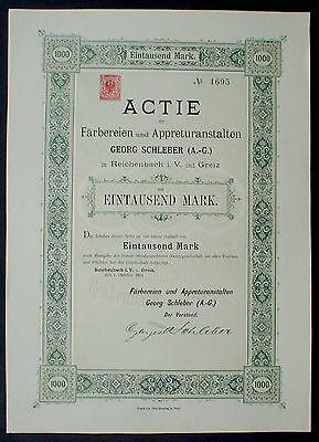 1000 DM Actie Georg Schleber AG Reichenbach i. V. u Greiz, 1892 nicht im Barov