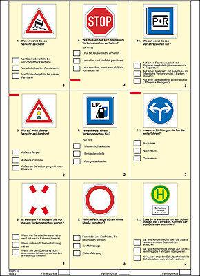 Fahrschule: Führerschein Fragebogen Klasse B (Pkw) 2019