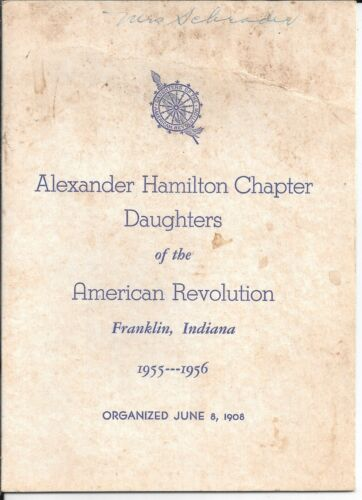 1955-56 ALEXANDER HAMILTON CHAPTER DAUGHTERS OF THE AMERICAN REVOLUTION, DAR, IN