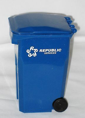Miniature Blue Plastic Republic Service Salesman Sample Barbie Doll Recycle Can