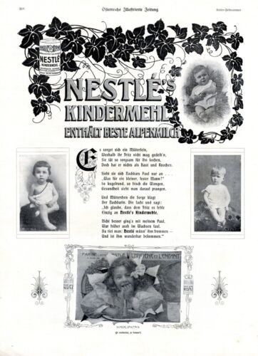 Nestle children flour XL 1908 Austrian ad baby food advertising children