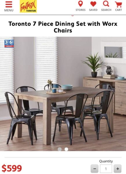 Superb Fantastic Furniture Toronto 7 Piece Dining Set With Worx Chairs ...