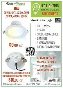LED 10W DIMMABLE DOWNLIGHT $9+GST MAY SPECIAL WARM/NATURAL/BRIGHT Ellenbrook Swan Area Preview