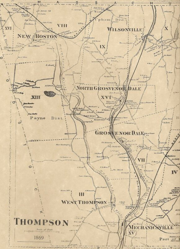 Thompson Grosvenor Dale Quinebaug CT 1869  Map with Homeowners Names Shown