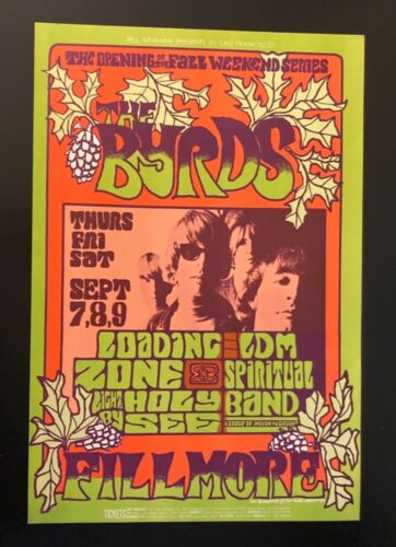 Vintage 1967 The Byrds at the Fillmore Billy Graham Concert Poster No. 82