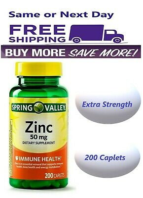 Spring Valley Zinc Vitamin 50 mg 200 Caplets Immune Support
