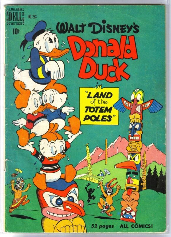 Dell Four Color #263 DONALD DUCK Land of Totem Poles! Golden Age Comic Book ~ G
