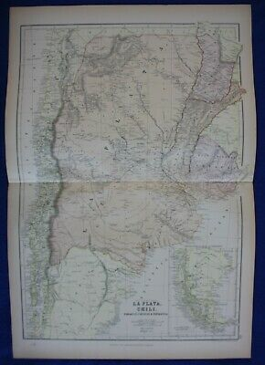 ARGENTINA, CHILE, PARAGUAY, SOUTH AMERICA, original antique map, Blackie, 1884