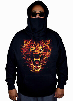 Men's Flaming Wolf Mask Hoodie Sweater Fire Animal Wildlife Hunting Beast Fear (Anime Wolf Mask)