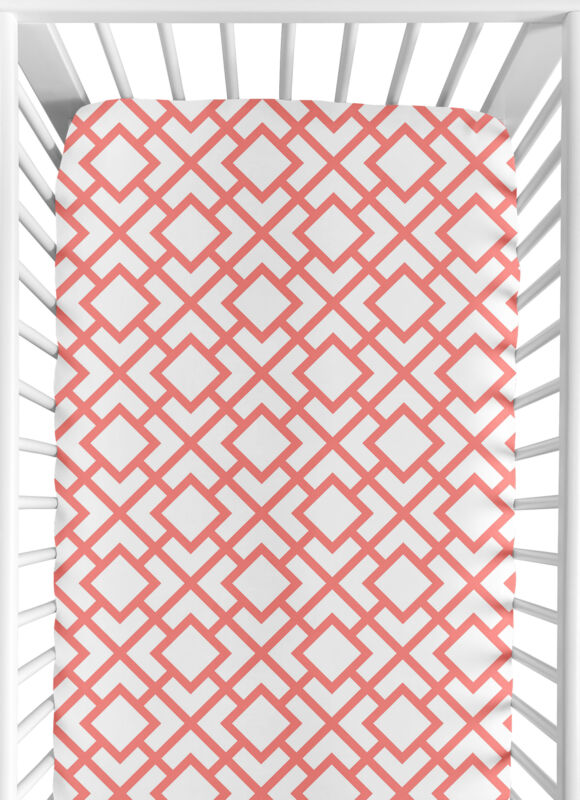 Sweet Jojo Baby Crib Or Toddler Bed Fitted Sheet For Coral Set - Diamond Print