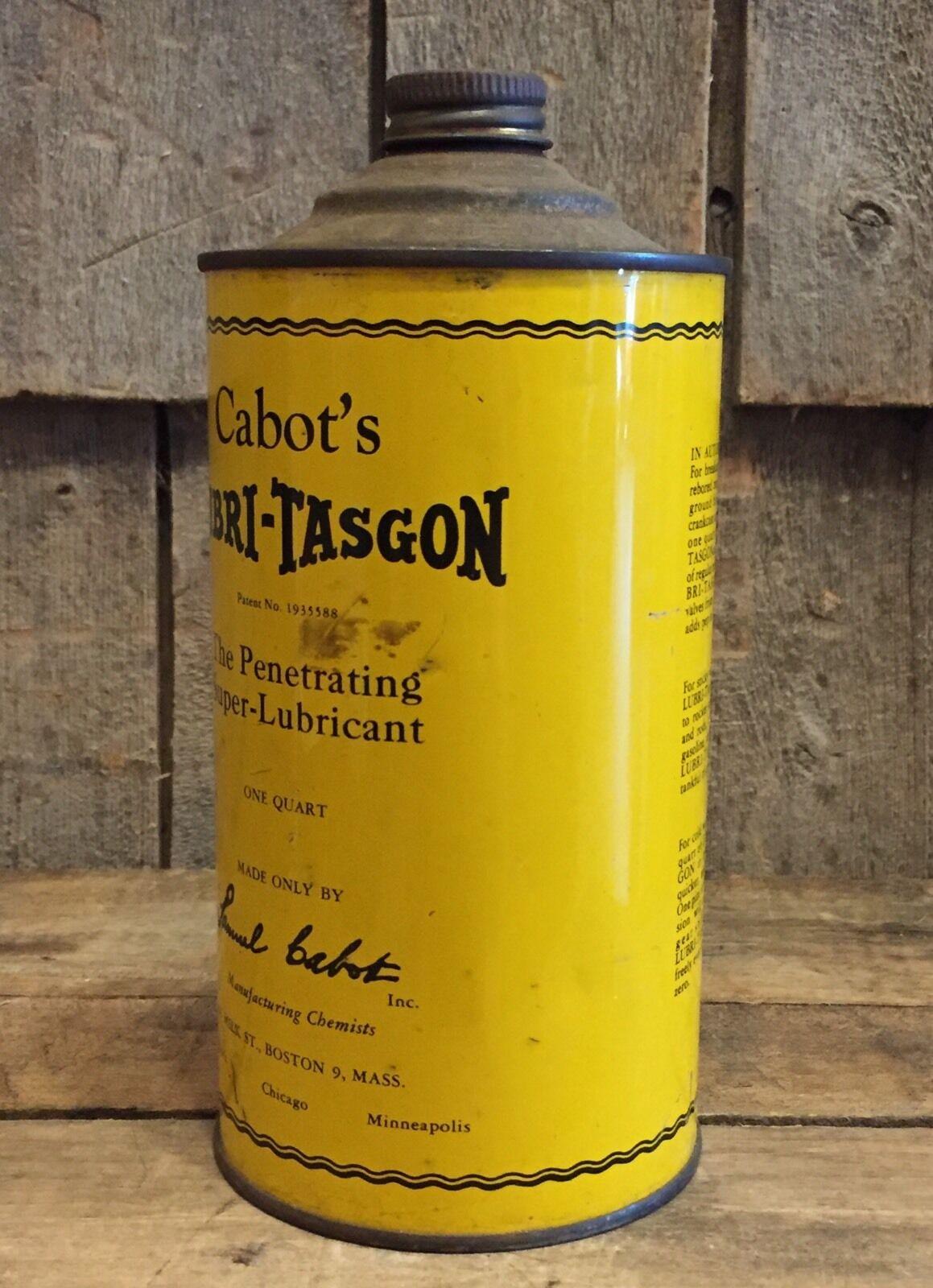 Vintage Cabot S Lubri Tasgon 1 Quart Metal Can Cone Top