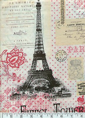 Pink Paris - Eiffel Tower Quilt Fabric - Free Shipping - 1 (Pink Eiffel Tower)