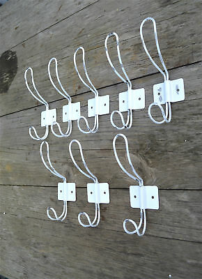 A set of 8 vintage French cafe style white steel coathook coat hook hanger