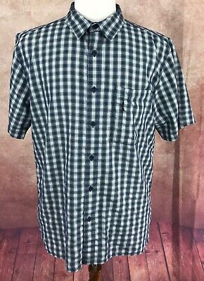 North Face Button Front Short Sleeve Hiking Fishing Blue Check Shirt Men's L