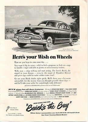 1948 Buick HERE'S YOUR WISH ON WHEELS AD