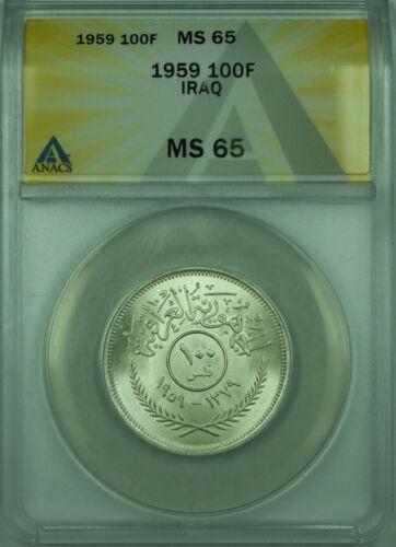 1959 100F Iraq ANACS MS 65 100 Fils(1 Dinar) Silver Coin KM#124