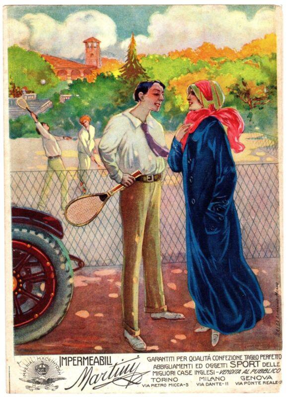 ITALIAN MAG AD COLOR 1914 TENNIS IMPERMEABILI MARTINI RAINCOAT