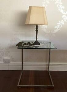 Glass Side Table & Brass Lamp