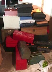 So many toolboxes/storage containers!  Many vintage/antique