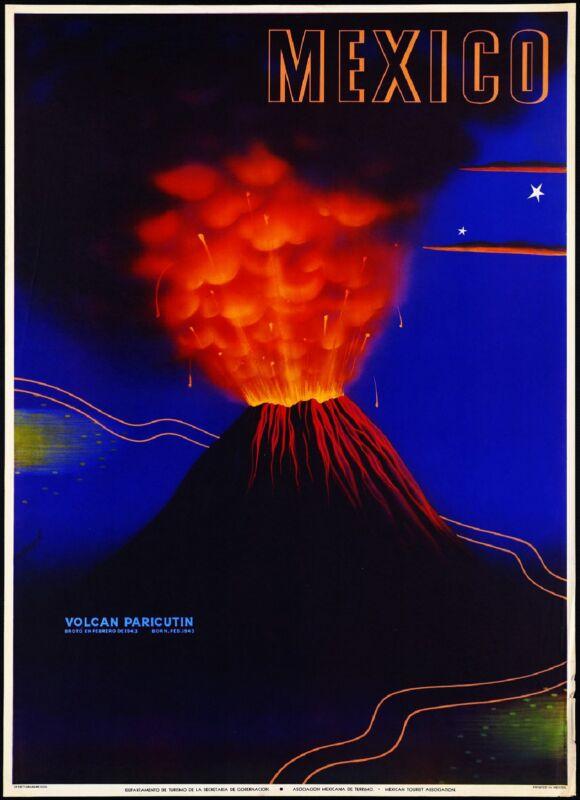 Mexico Volcan Paricutin Mexican Spanish Vintage Travel Advertisement Art Poster