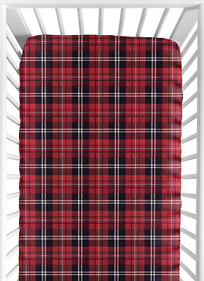 Red Woodland Plaid Flannel Rustic Collection Baby or Toddler Fitted Crib Sheet