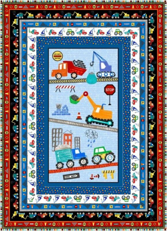 Striped BACKING INCL. Diggers and Dumpers Quilt Kit Construction Equipment-EASY!