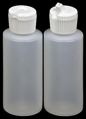 Plastic Bottle w/White Turret Lid, 2-oz., 12-Pack, New