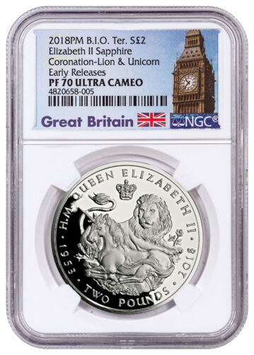 2018 British IO Sapphire Coronation Lion Unicorn Silver NGC PF70 UC ER SKU52993