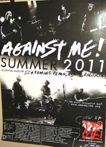 AGAINST ME Original Show Tour Dates Promo Poster Summer 2011 Very COOL
