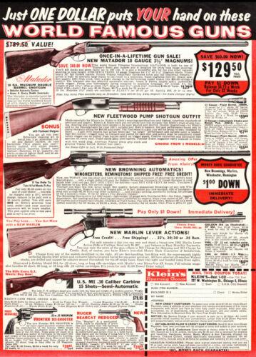 "1961  Firearms Ad MATADOR 12 Gauge & More! KLEIN""S Sporting Goods Chicago 042319"