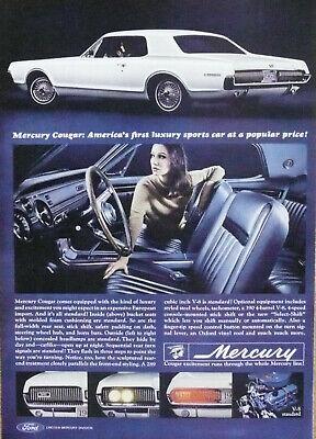 Mercury Cougar Interior - 1967 Mercury Cougar Print Ad (White) Interior View