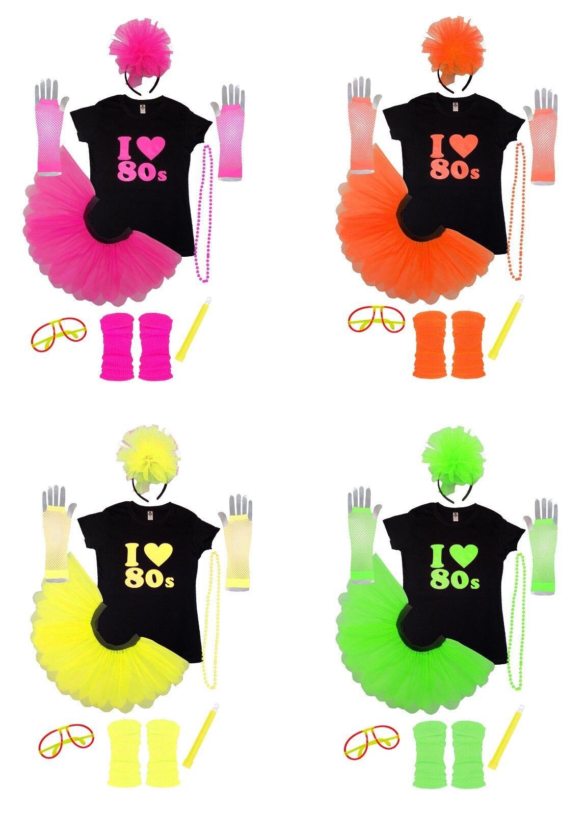 Femmes Off épaule I Love 80 s T Shirt Tutu Jupe Set Parti Accessoires 6399