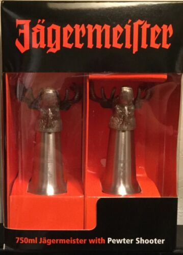 Jagermeister Deer Stag Pewter Shot Glass Pair - NEW IN BOX!