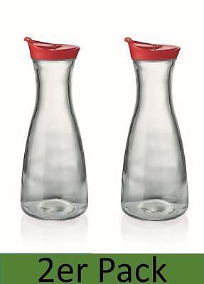Karaffe 1l mit Deckel rot 2er Set Dekanter Wasserkaraffe Glaskaraffe Krug Kanne Wasser Krug Mit Deckel