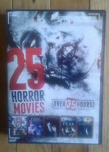 5 disc dvd set  25 horror movies   totalling 35 hrs of video