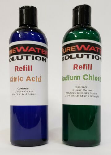 Water Purification Solution - REFILL Chlorite (NaClO2) & Citric Acid 12 oz each