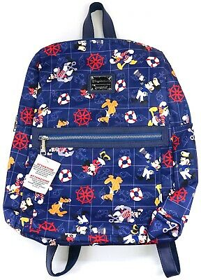 New Disney Cruise Line Navy Blue Nautical Mickey & Friends Loungefly Backpack](Nautical Backpack)
