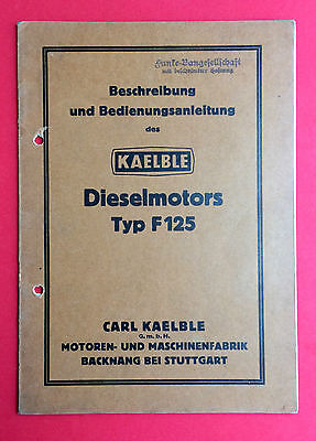 Bedienungsanleitung des KAEBLE Dieselmotor Typ F 125  ( F15741