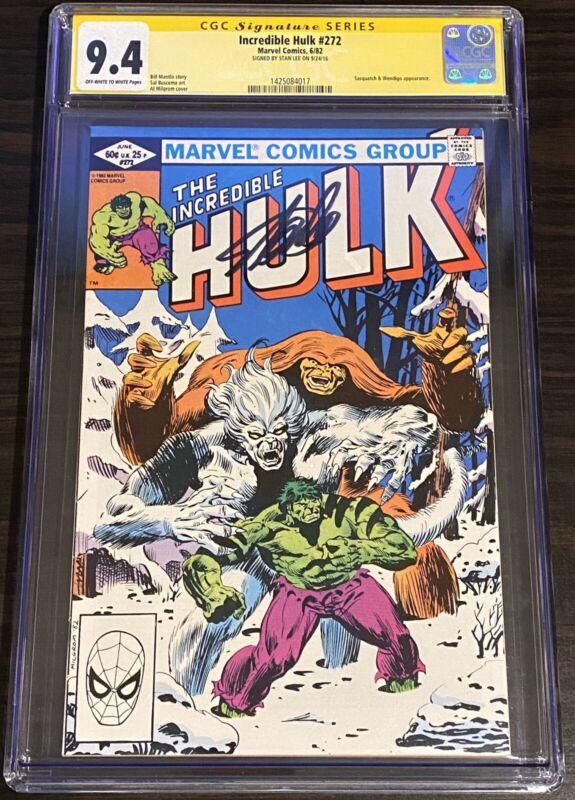 Incredible Hulk #272 CGC 9.4 Signed by STAN LEE 1 of 4! SS Sasquatch Wendigo WP